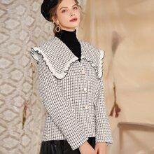 Tweed Mantel mit Plaid Muster, Ruesche am Kragen und Knopfen ohne Guertel