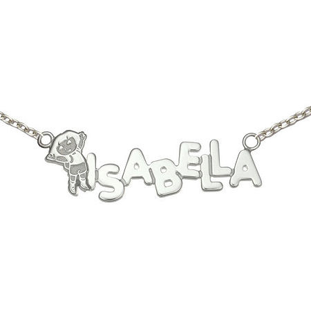 Personalized Dora Girls Sterling Silver Name Necklace, One Size , White