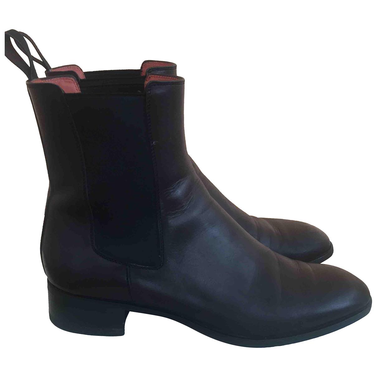 Santoni - Boots   pour femme en cuir - noir