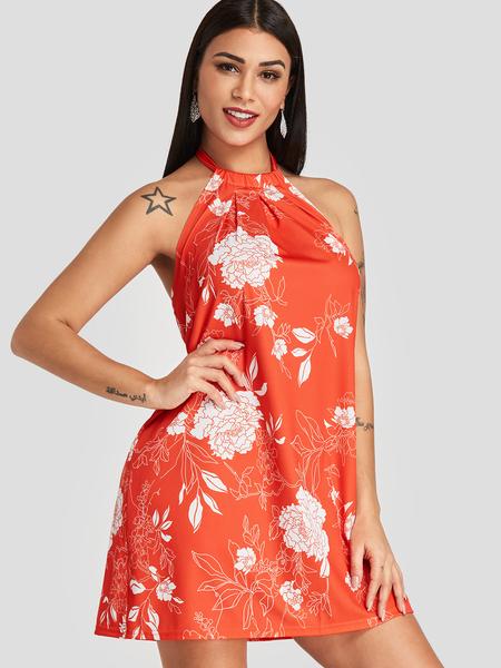 Yoins Orange Floral Print Backless Design Halter Dress