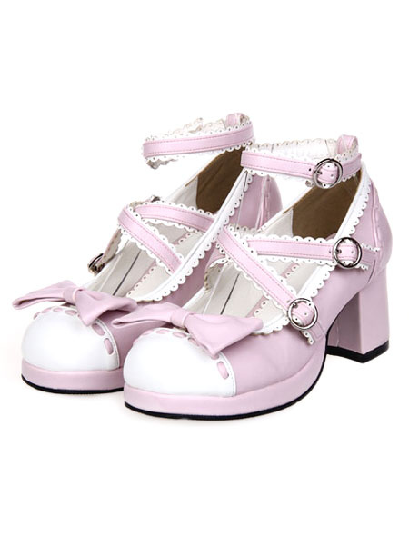 Milanoo Sweet Lolita Chunky Heels Shoes Ankle Strap Bow Deco
