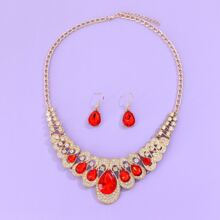 1 Stueck Halskette mit Edelstein Dekor & 1 Paar Ohrringe