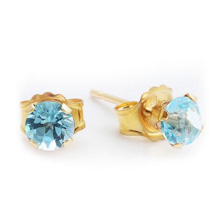 Genuine Blue Topaz 10K Yellow Gold 4mm Stud Earrings, One Size , Blue