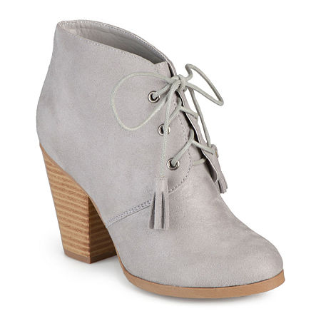 Journee Collection Womens Wen Heeled Ankle Booties, 9 Medium, Gray