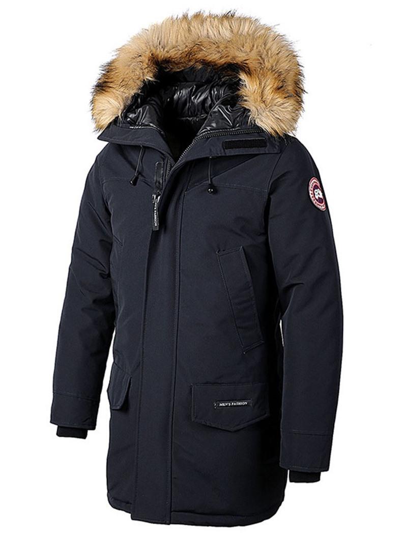 Ericdress Hooded Appliques Mid-Length Zipper European Down Jacket