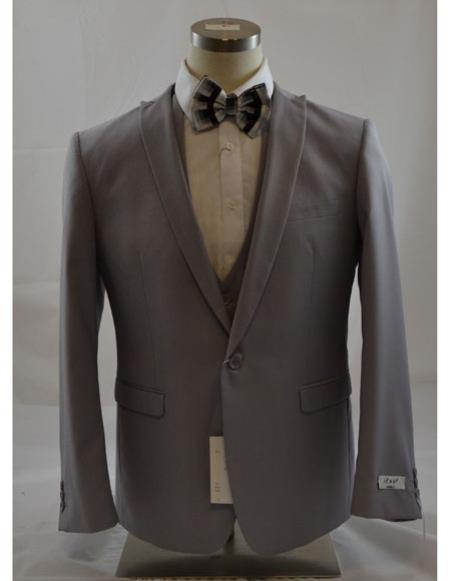 Mens Grey 1Button Peak Lapel Vest suit 3Piece Suits SlimFit Tapper Cut