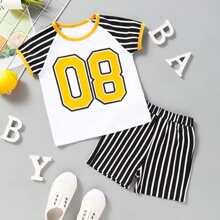 Kleinkind Jungen T-Shirt mit Nummer Muster, Streifen und Shorts