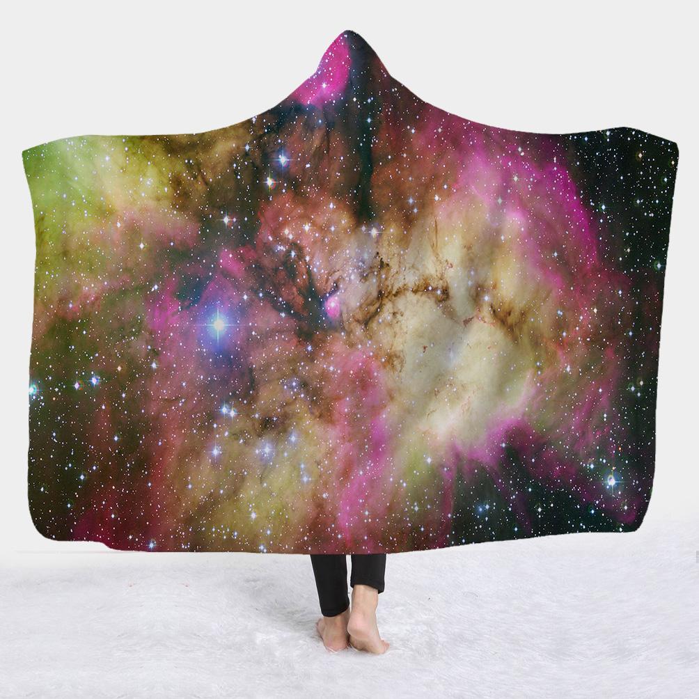 Charming Starry Galaxy Printed 3D Fleece Hooded Blanket