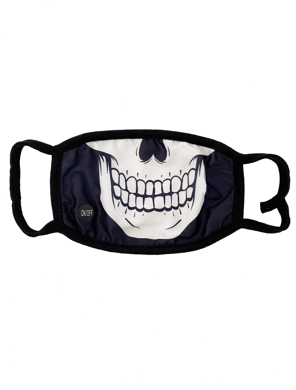 Kostuemzubehor Maske Schaedel leuchtend Farbe: schwarz/weiss