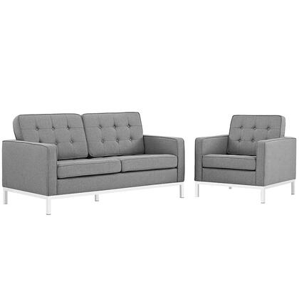 Loft Collection EEI-2442-LGR-SET Living Room Set with Loveseat  Armchair  Removable Zippered Cushion Cover  Track Arms  Stainless Steel Frame and