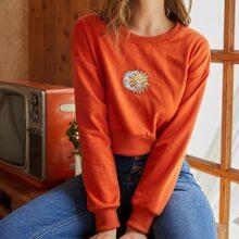 Sun & Moon Embroidery Crop Sweatshirt