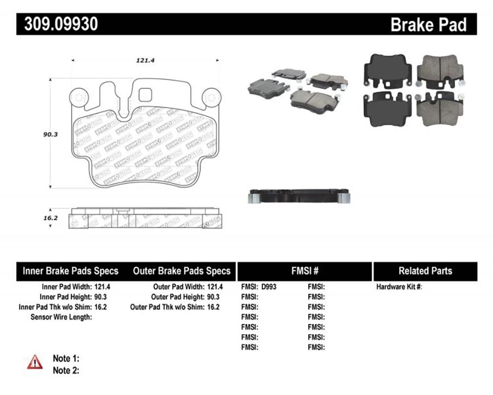 StopTech 309.0993 Sport Brake Pads with Shims/Hardware Rear