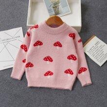 Toddler Girls Allover Mushroom Print Sweater