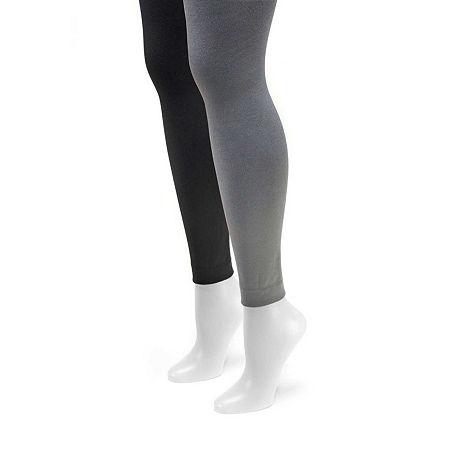 Muk Luks 2-pc. Fleece Lined Tights, Large , Gray
