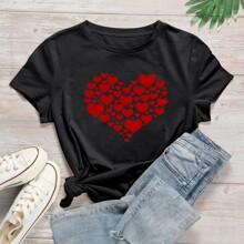 Grosse Grossen - T-Shirt mit Herzen Muster und kurzen Ärmeln