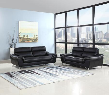 343973 69'' X 36'' X 40'' Modern Black Leather Sofa and