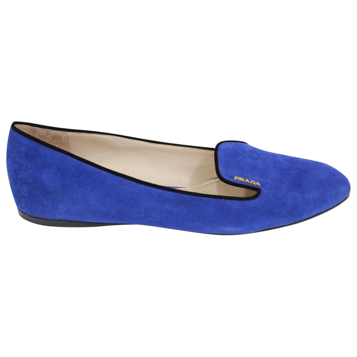 Prada \N Blue Suede Flats for Women 41.5 EU