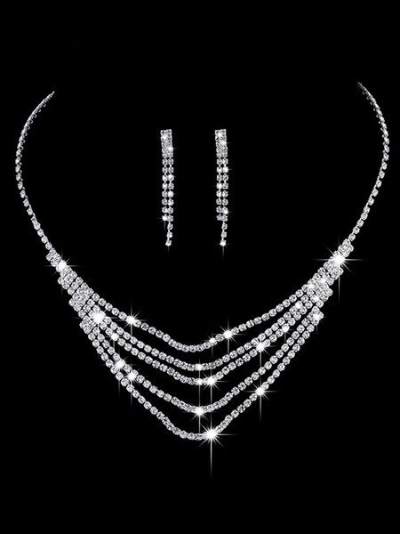 Milanoo Wedding Jewelry Set Silver Earrings And Necklace Rhinestone Beaded Tiered Bridal Necklace Set