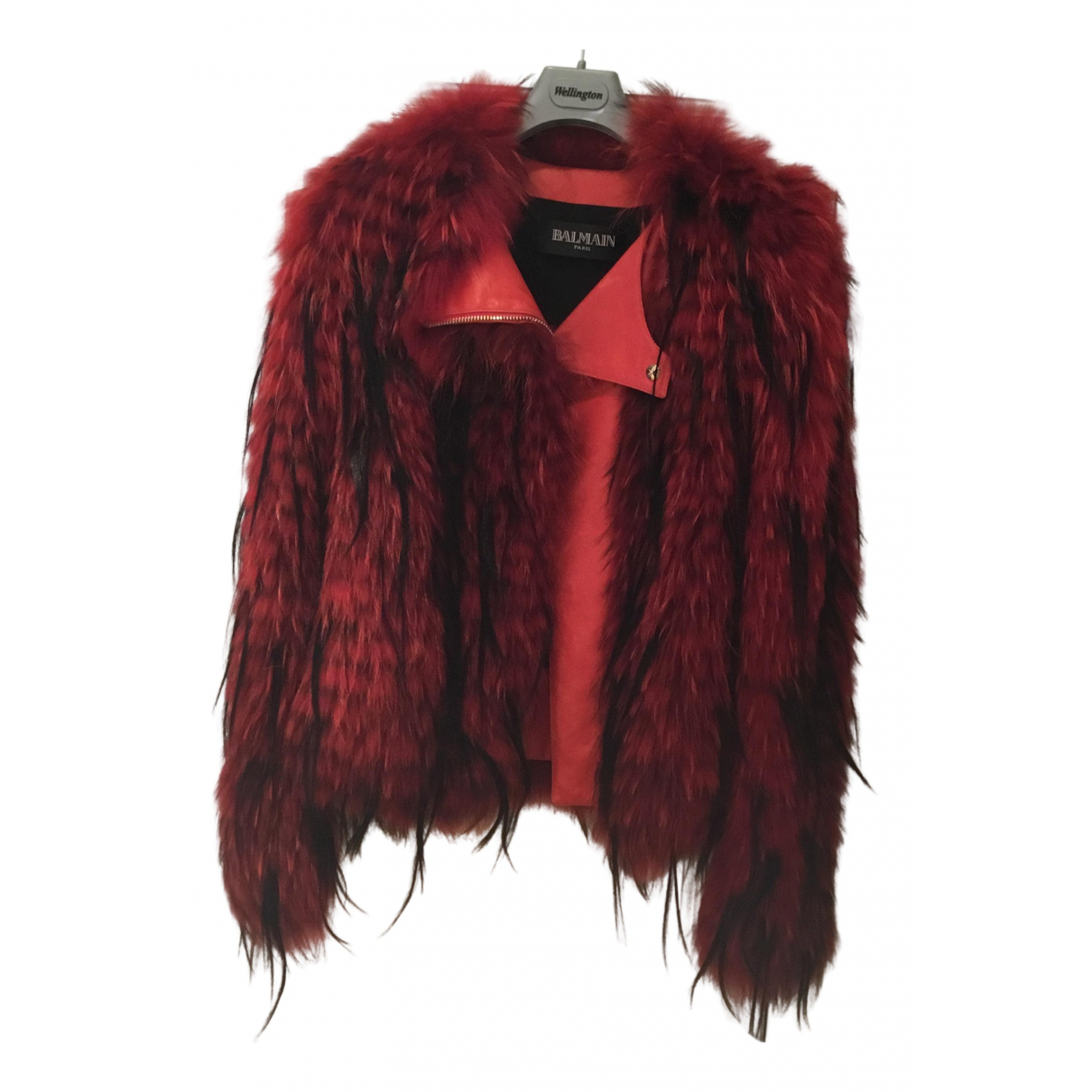Balmain - Veste   pour femme en fourrure - rouge