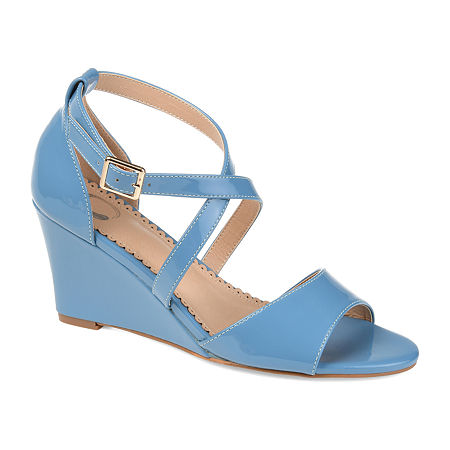 Journee Collection Womens Stacey Pumps Wedge Heel, 6 1/2 Medium, Blue