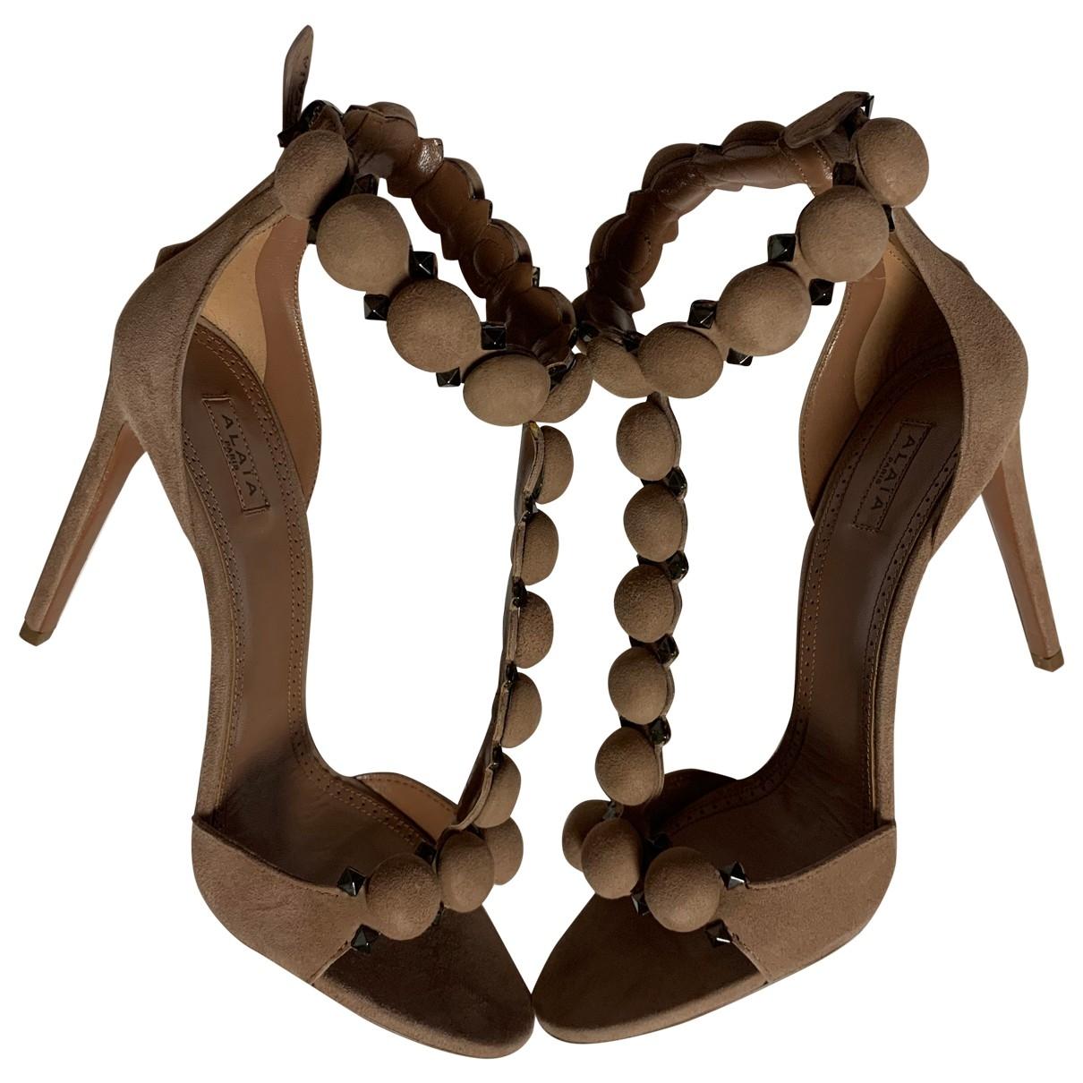 Alaïa \N Beige Suede Sandals for Women 41 EU