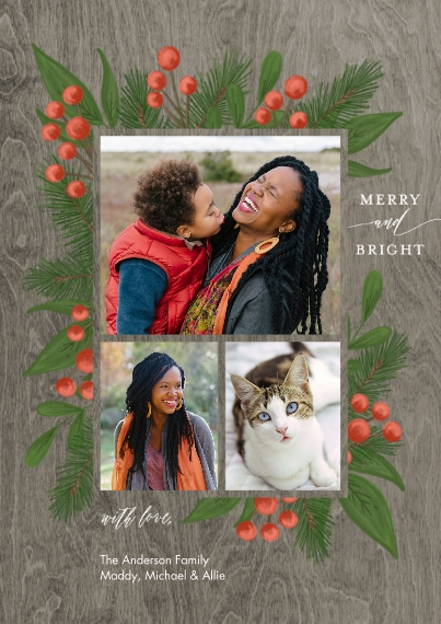 Christmas Photo Cards 5x7 Cards, Premium Cardstock 120lb, Card & Stationery -Christmas Merry Bright Berries by Tumbalina