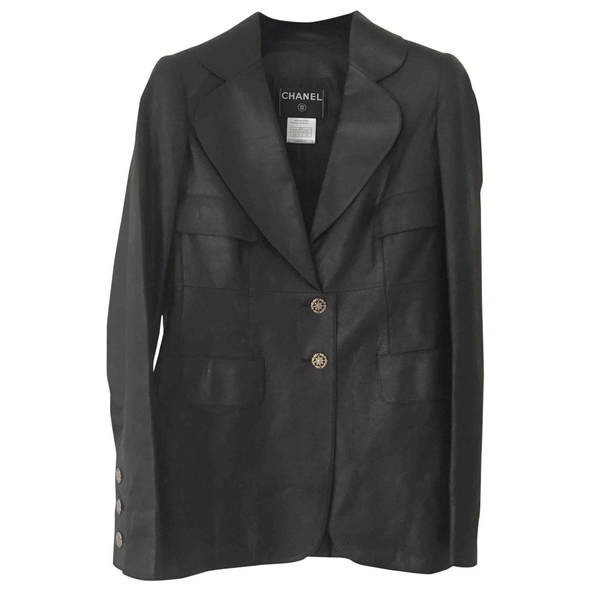 Chanel - Veste   pour femme en cuir - marron