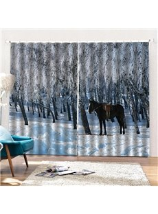 3D Realistic Print Blackout and Decorative Curtains with Horse and Snow Design
