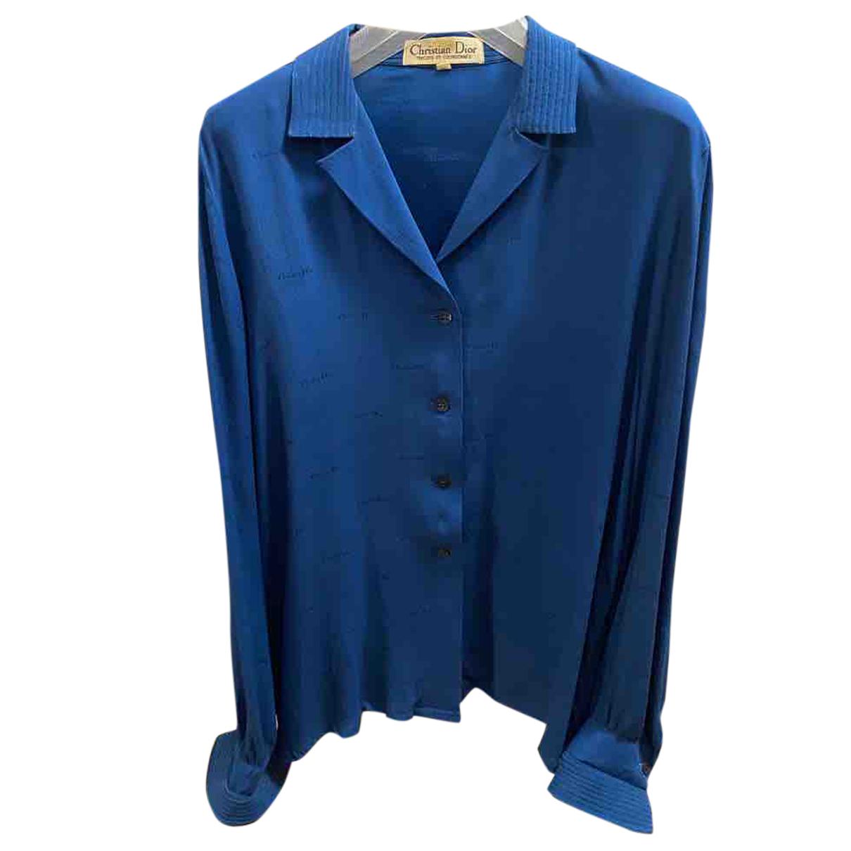 Christian Dior - Top   pour femme en soie - bleu