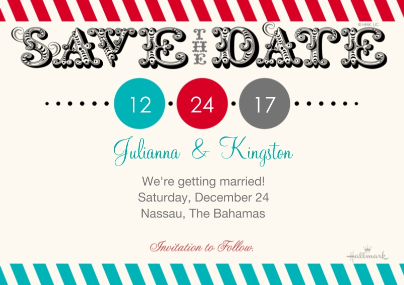 Save the Date 5x7 Cards, Standard Cardstock 85lb, Card & Stationery -Prominent Date