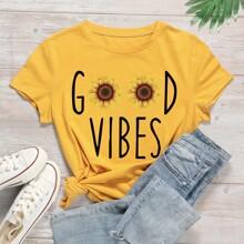 Camiseta con estampado de letra y girasol