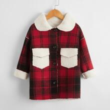 Mantel mit Plaid Muster und Kontrast Kragen & Teddy Futter