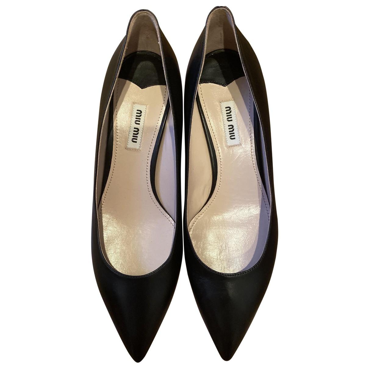 Miu Miu \N Black Leather Heels for Women 40 EU