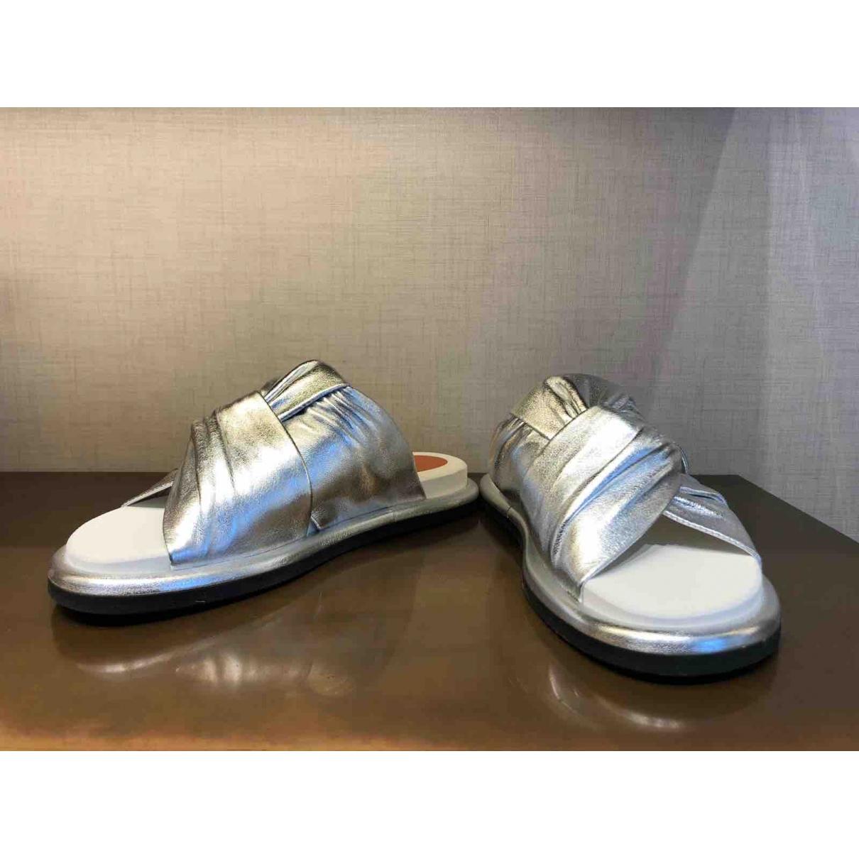 Santoni \N Silver Leather Sandals for Women 36 EU