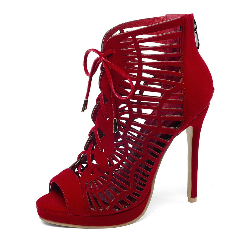 Ericdress Zipper Heel Hollow Stiletto Sandals