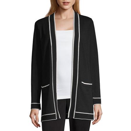 Liz Claiborne Womens Long Sleeve Open Front Bordered Cardigan, X-large , Black