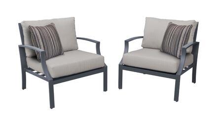Lexington LEXINGTON-02b 2-Piece Aluminum Patio Set 02b with 2 Club Chairs - 1 Ash