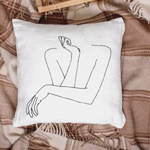 1pc  Figure Graphic Cushion Cover Without Filler