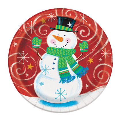 Happy Snowman Swirl Holiday Party Plates for Home Party Decor, 9 inch, 8ct
