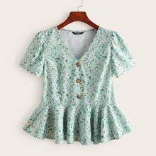 Buttoned Front Ditsy Floral Peplum Top