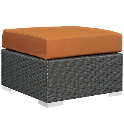 Sojourn Collection EEI-1855-CHC-TUS 25 Outdoor Patio Sunbrella Ottoman with Stainless Steel Legs  Powder Coated Aluminum Frame and Fabric Upholstery