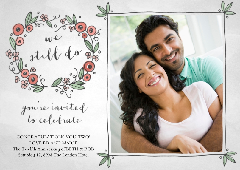 Anniversary Invitations Flat Glossy Photo Paper Cards with Envelopes, 5x7, Card & Stationery -Sweet Nothings