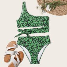 Leopard One Shoulder High Waisted Bikini Swimsuit