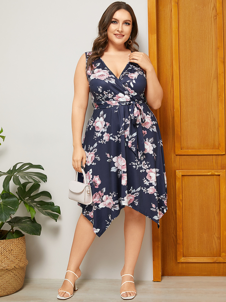 YOINS Plus Size Navy Belt Design Floral Print V-neck Sleeveless Dress