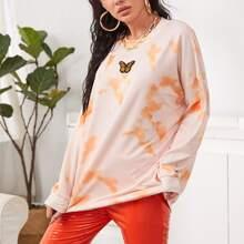 Pullover mit Batik, Schmetterling Stickereien und sehr tief angesetzter Schulterpartie