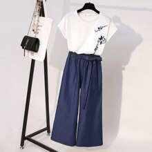 T-Shirt mit Blumen Stickereien & Hose mit breitem Beinschnitt