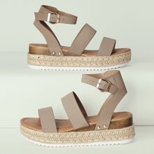 Twin Band Ankle Strap Flatform Espadrille Sandals