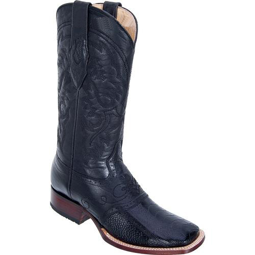 Men's Wide Square Toe Genuine Ostrich Leg Boots W/ Saddle Vamp Black
