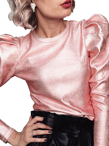 Yoins CHRISTMAS SALE Pink Round Neck Long Sleeves Blouse