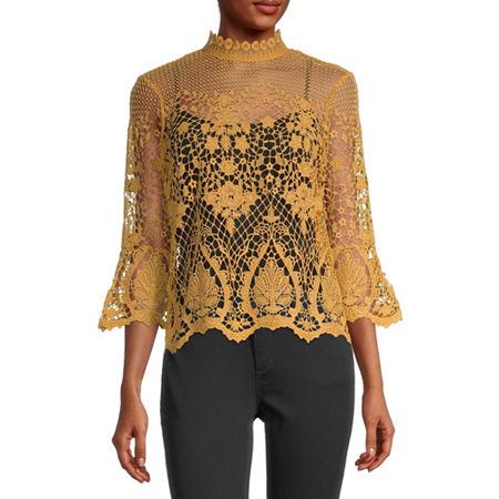Bold Elements Womens High Neck 3/4 Sleeve Crochet Blouse, Xx-large , Yellow